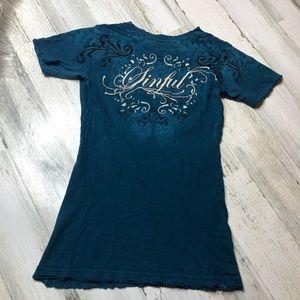 Sinful T-shirt Blue Rhinestone size small